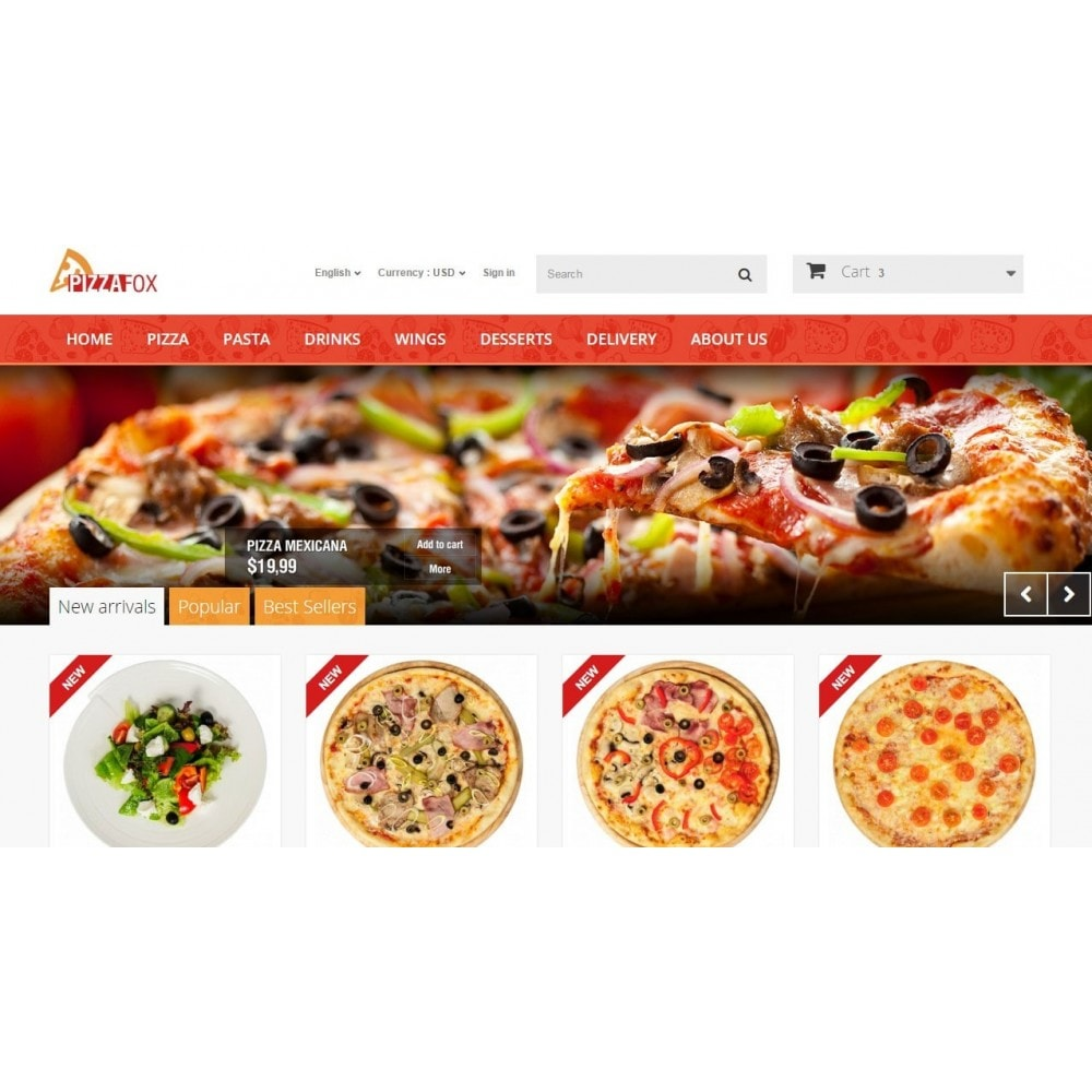 Pizza Fox Prestashop 1.6 Responsive Template