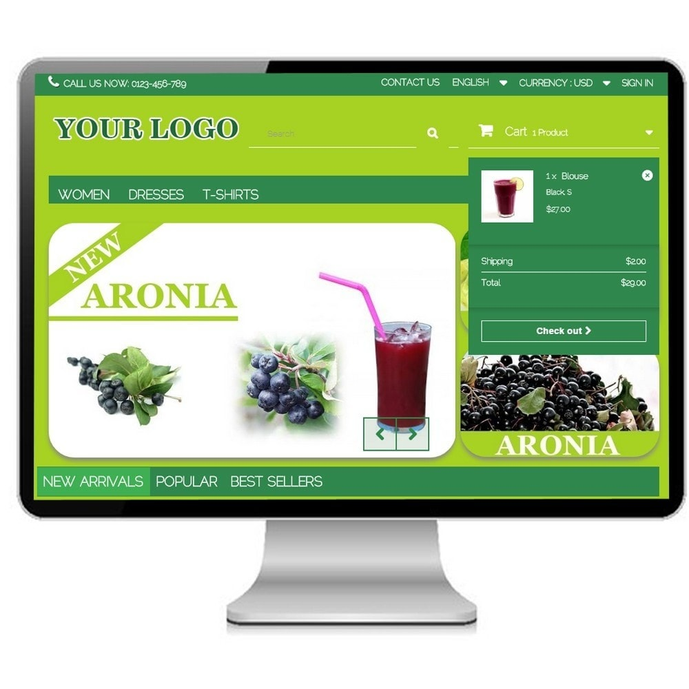 theme - Alimentation & Restauration - Super Bio, cosmetics and Medical - Prestashop - 2