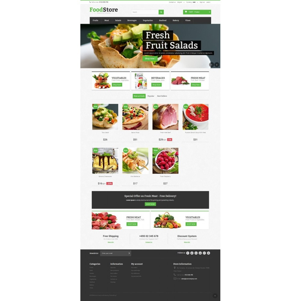 theme - Alimentation & Restauration - Food Store Prestashop 1.6 Responsive - 2