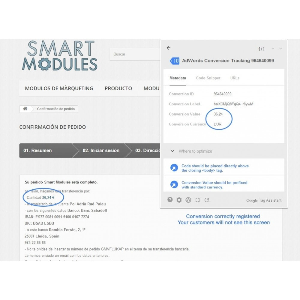 module - Remarketing & Paniers Abandonnés - Google Adwords Conversion Tracking - Smart Modules - 5