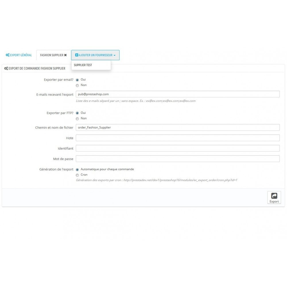 module - Dropshipping - Export commande CSV/FTP par fournisseur - Dropshipping - 2