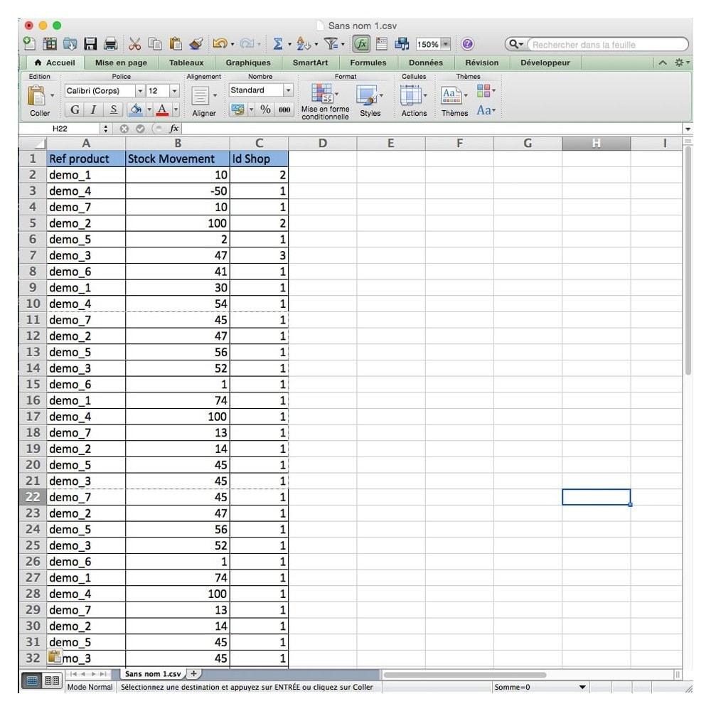 module - Import & Export de données - Import Mouvement de Stock - 2