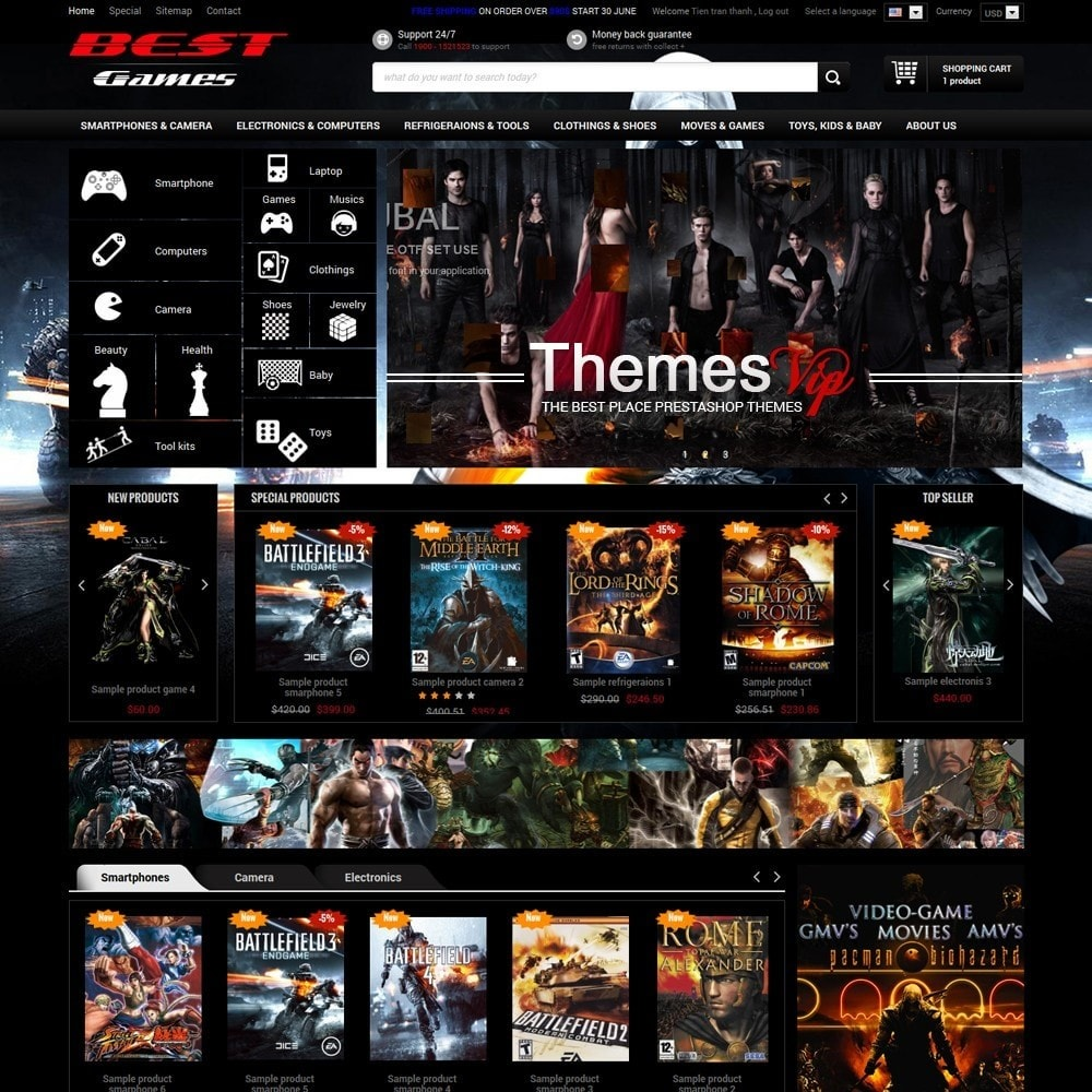 theme - Electronics & Computers - Responsive Best Games Prestashop Theme - 1