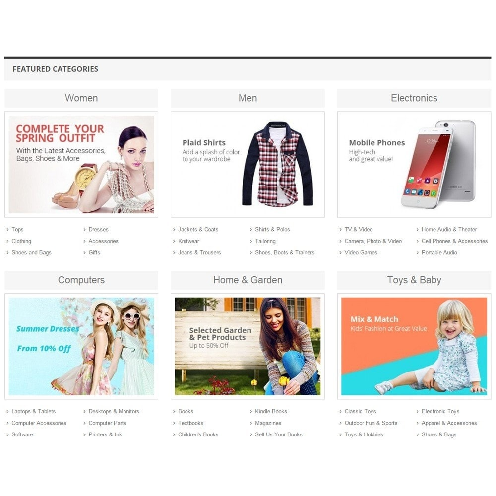 module - Productos en la página de inicio - Zero Featured Categories - Thumbnail & Subcategories - 2