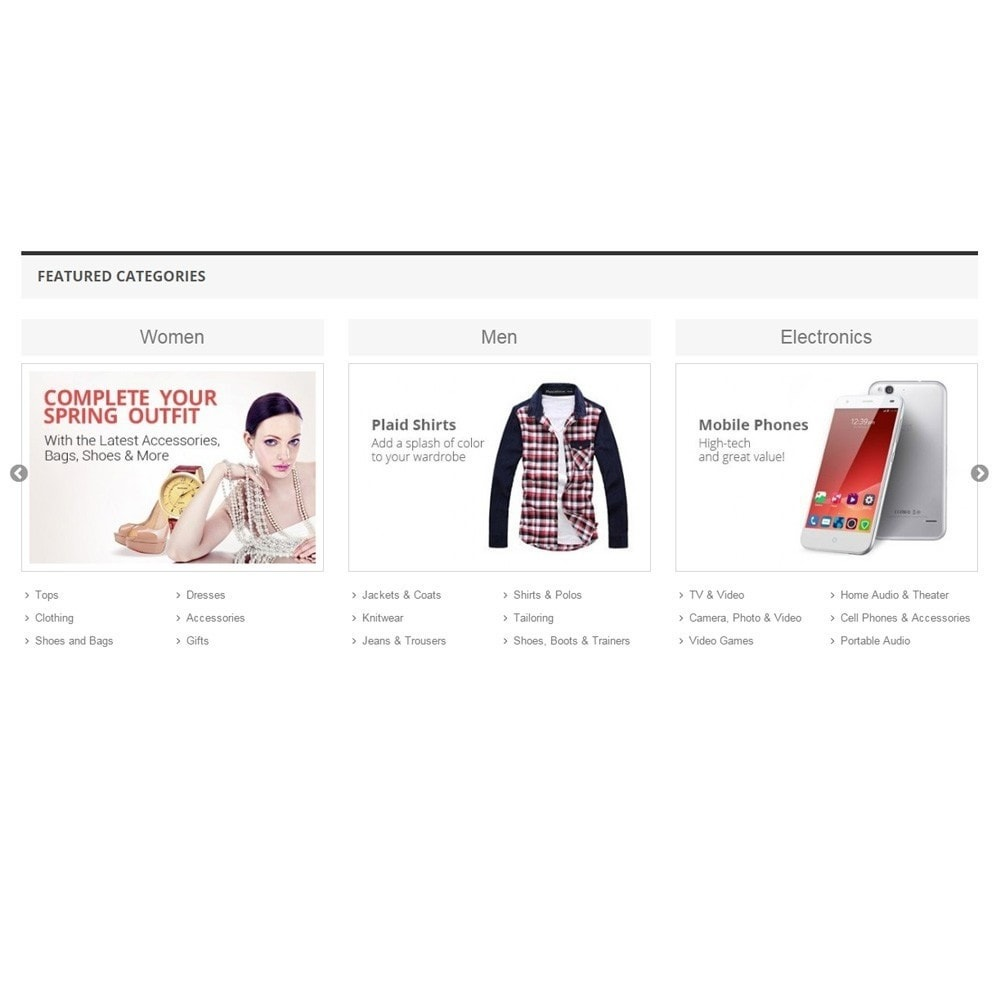 module - Productos en la página de inicio - Zero Featured Categories - Thumbnail & Subcategories - 3