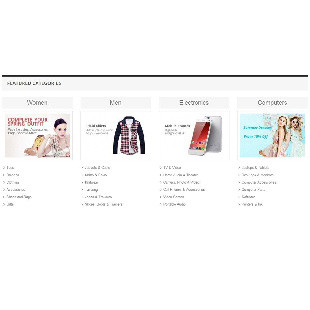 module - Productos en la página de inicio - Zero Featured Categories - Thumbnail & Subcategories - 4