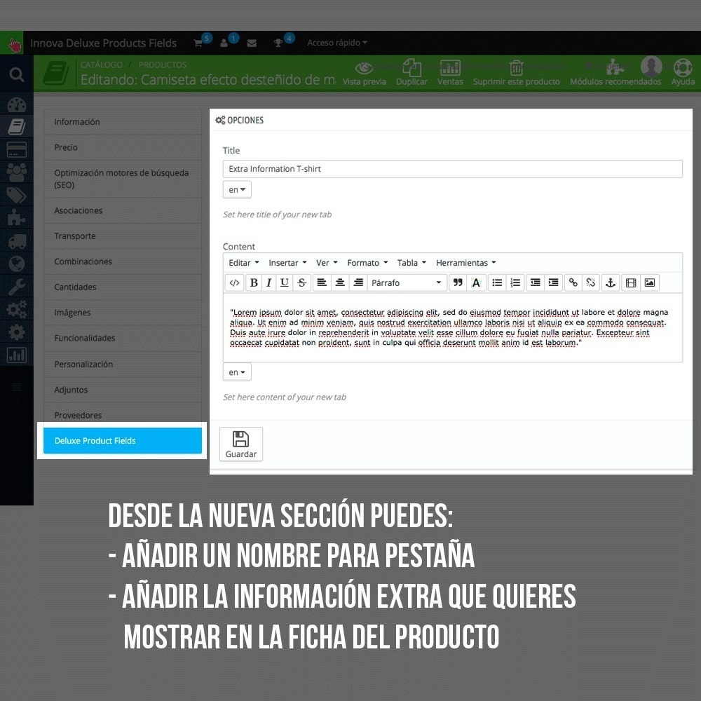 module - Informaciones adicionales y Pestañas - Pestaña con información extra en ficha de producto - 6