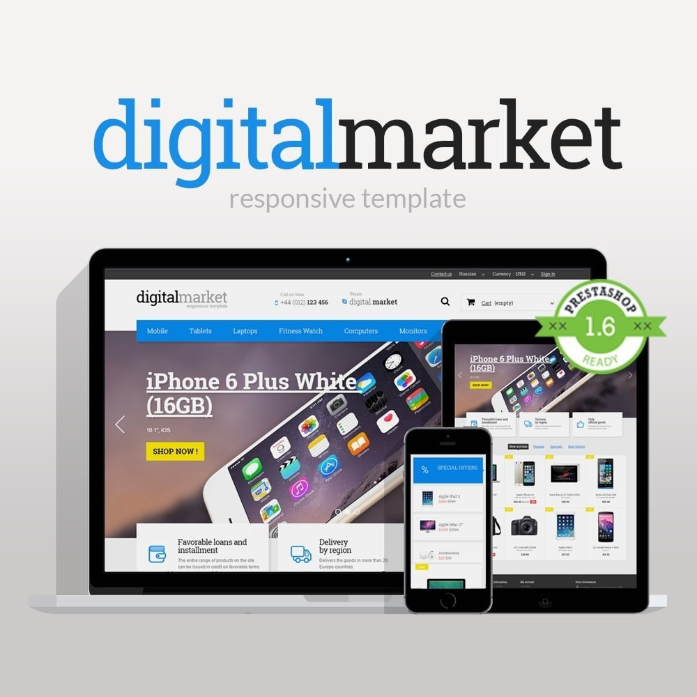 theme - Elektronika & High Tech - Digital Market Responsive Prestashop 1.6 Template - 1