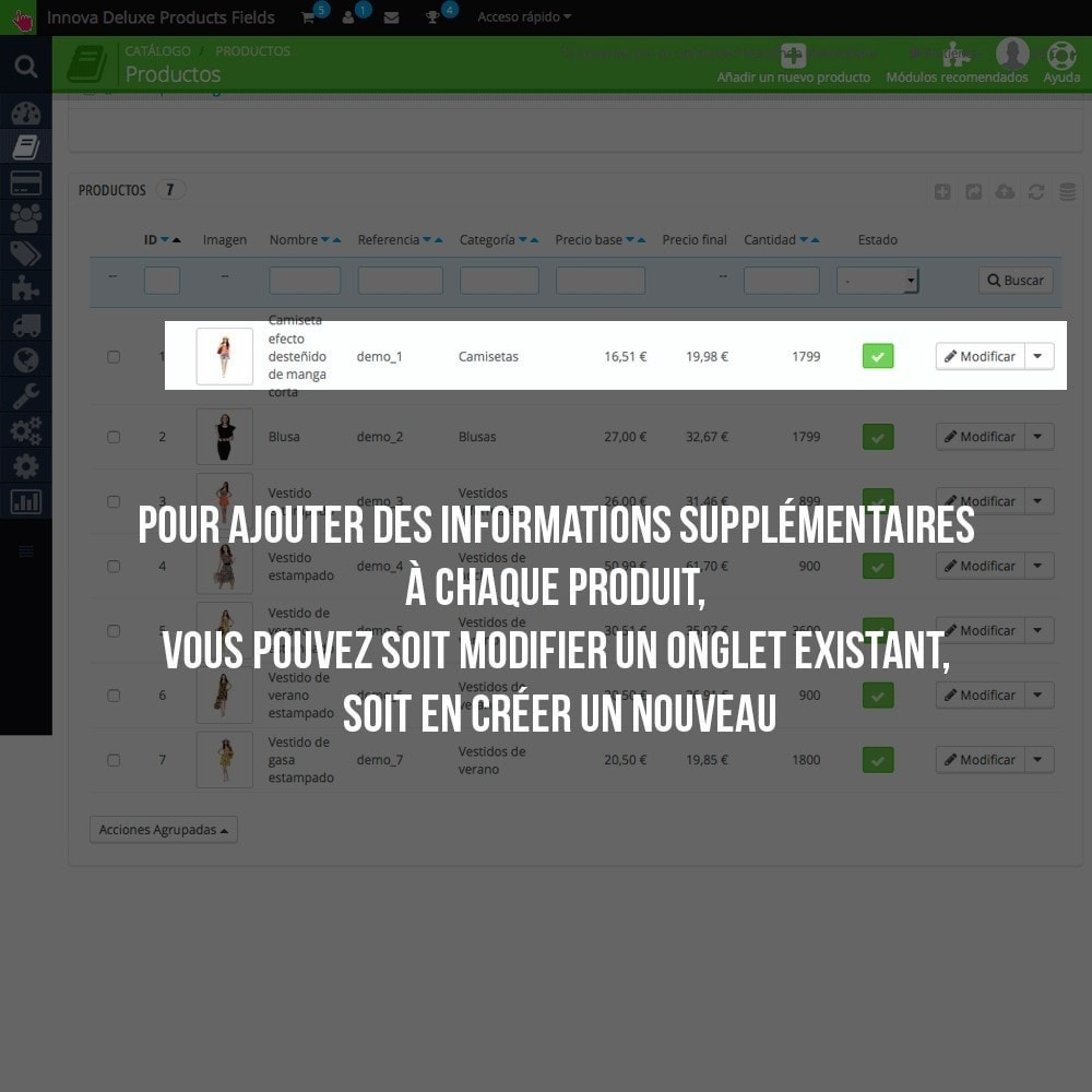 module - Information supplémentaire & Onglet produit - Informations supplémentaires sur la fiche article - 4