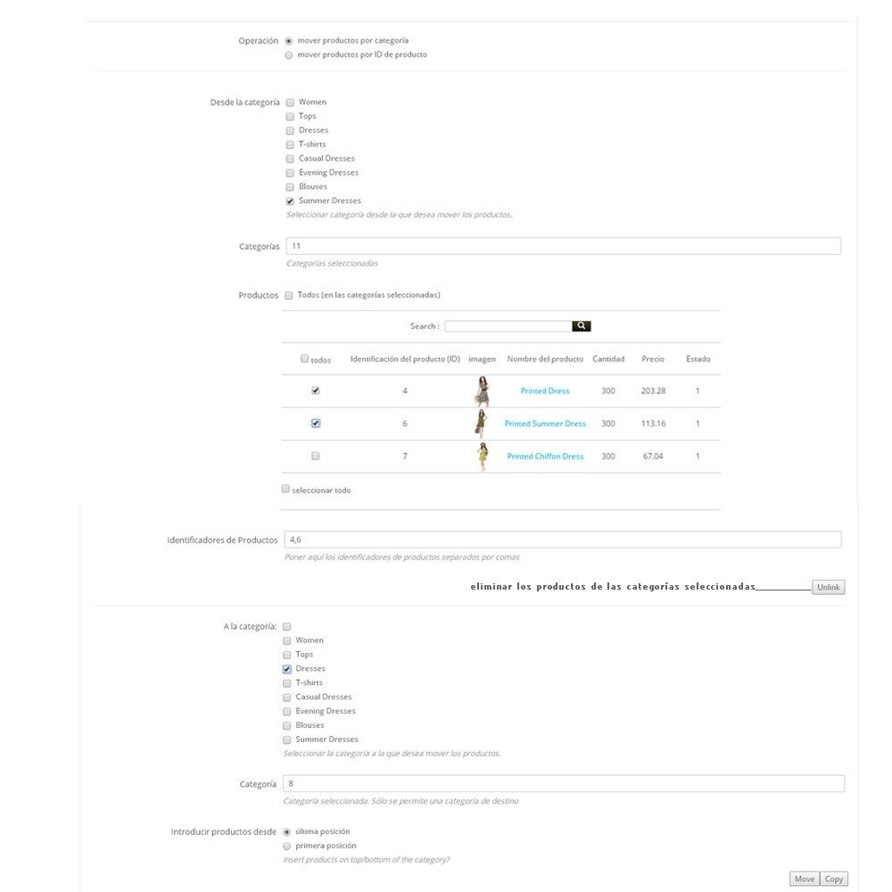 module - Edición Rápida y Masiva - Mover productos en masa entre categorías - 2