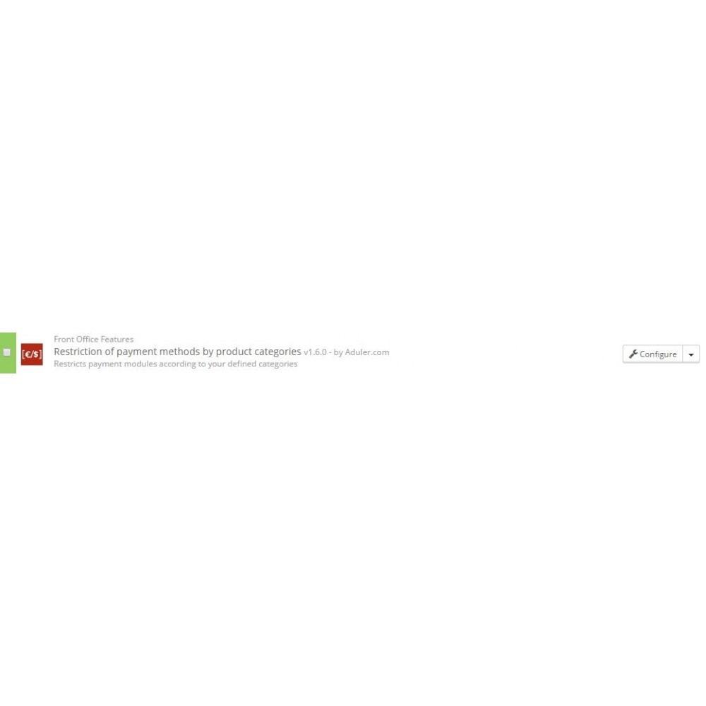 module - Autres moyens de paiement - Restriction des paiements par catégories de produit - 1