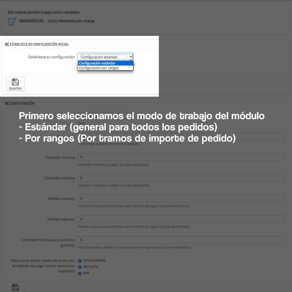 module - Pago a la Entrega (contrarrembolso) - Contra reembolso con recargo (rangos y restricciones) - 6
