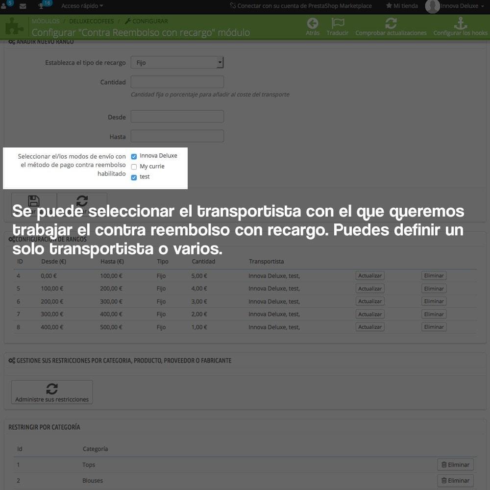 module - Pago a la Entrega (contrarrembolso) - Contra reembolso con recargo (rangos y restricciones) - 12