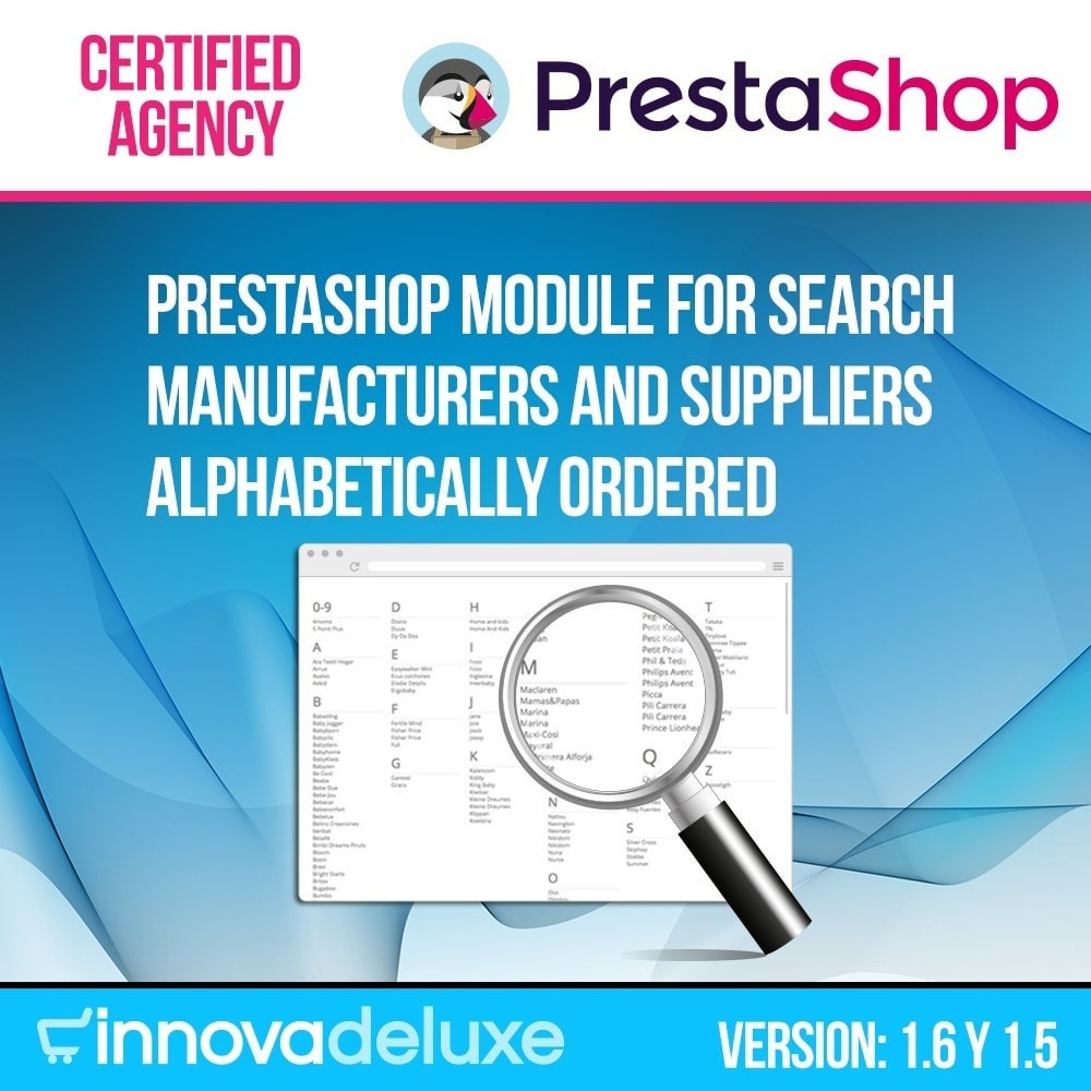 module - Pesquisa & Filtros - Manufacturer or supplier alphabetical search - 1