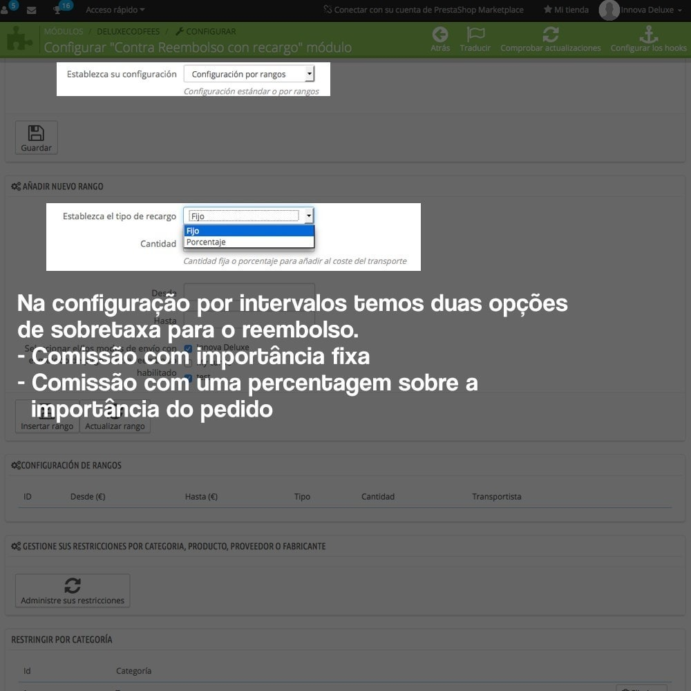 module - Pagamento em dinheiro na entrega - COD - Cashdelivery with fee (ranks and restrictions) - 6