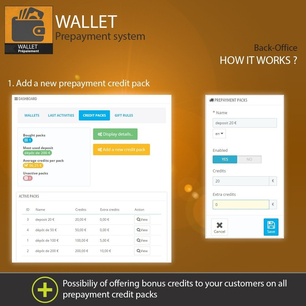 module - Payment by Card or Wallet - Wallet - Prepayment with cash back system - 3