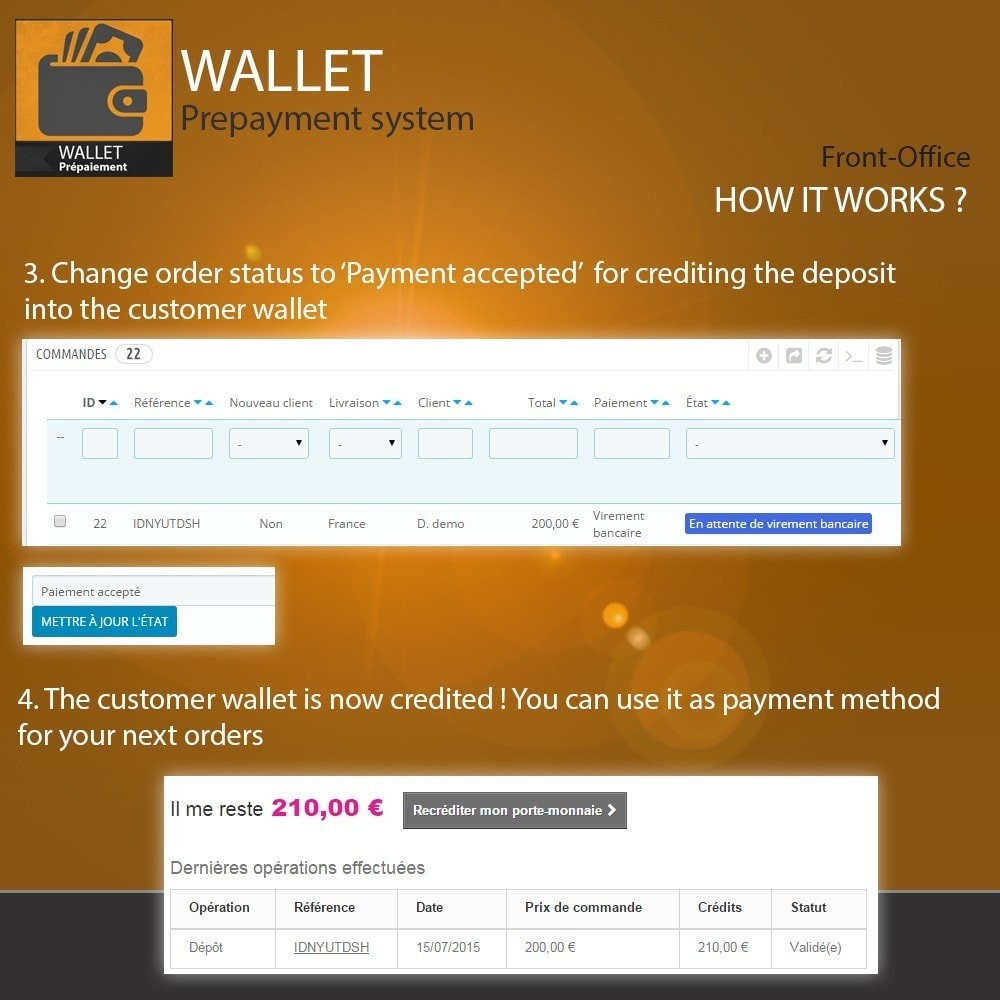 module - Payment by Card or Wallet - Wallet - Prepayment with cash back system - 5