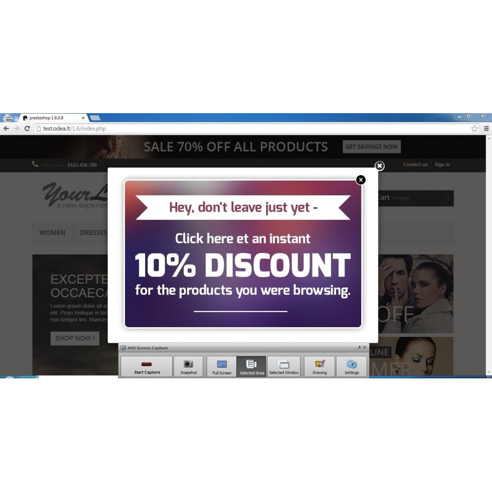 module - Pop-up - Give user a discount on exit - conversion popup - 1