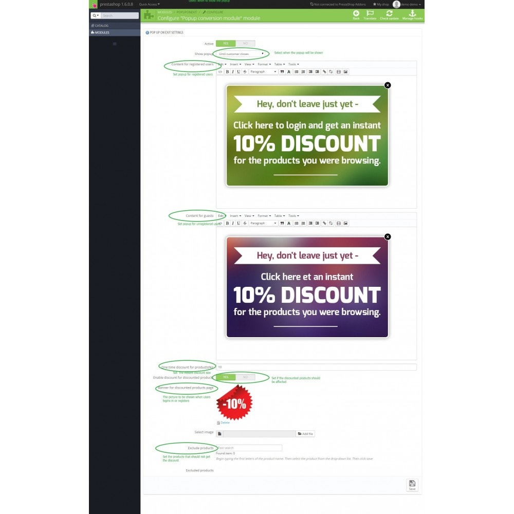 module - Pop-up - Give user a discount on exit - conversion popup - 2
