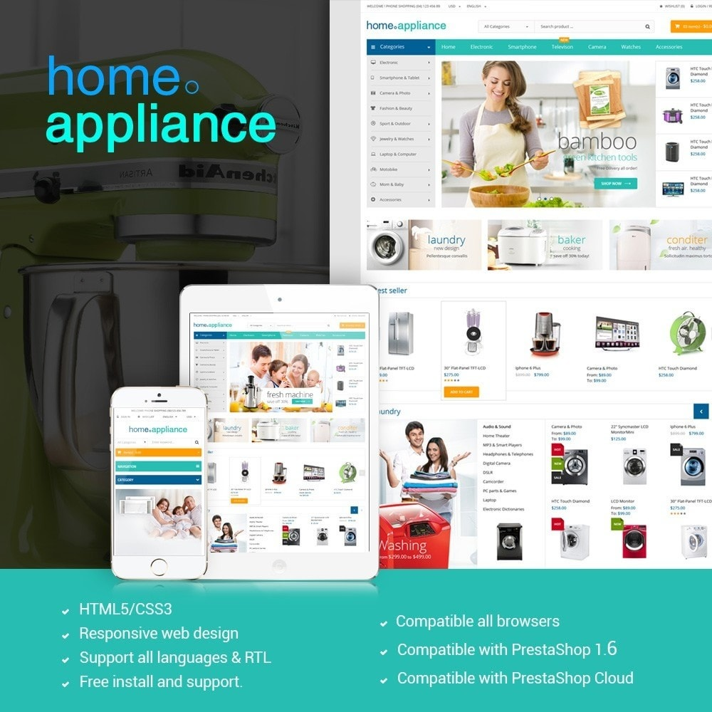 Home Appliances - Neutral Responsive PrestaShop Theme