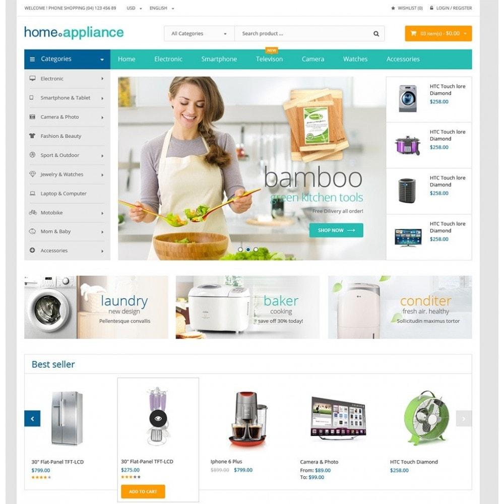 theme - Dom & Ogród - Home Appliances - Neutral Responsive PrestaShop Theme - 2