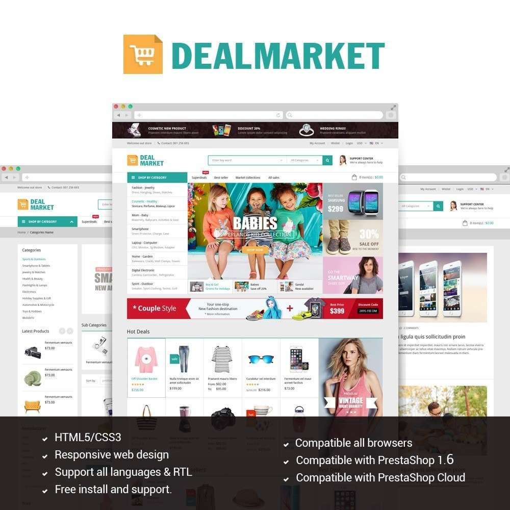 theme - Moda & Obuwie - DealMarket- Fashion Store Responsive PrestaShop Theme - 1