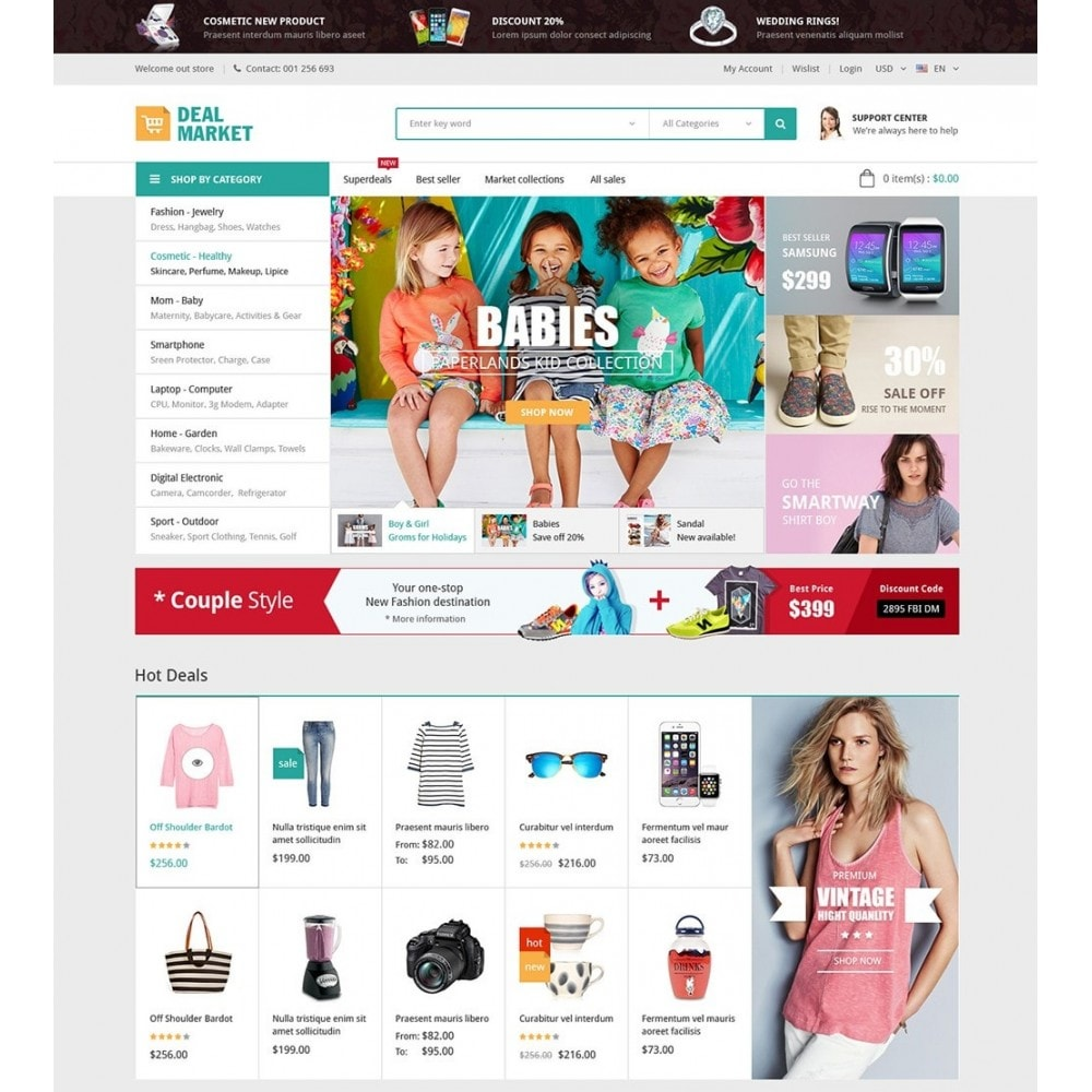 Presta Shop Templates Dealmarket Fashion Store Responsive Prestashop Theme
