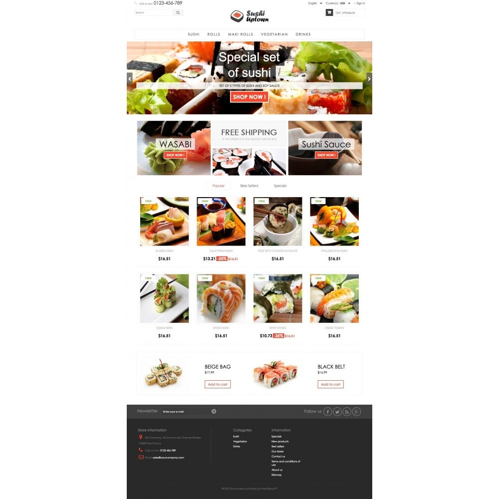 theme - Alimentos & Restaurantes - Sushi Uptown 1.6 Responsive - 2