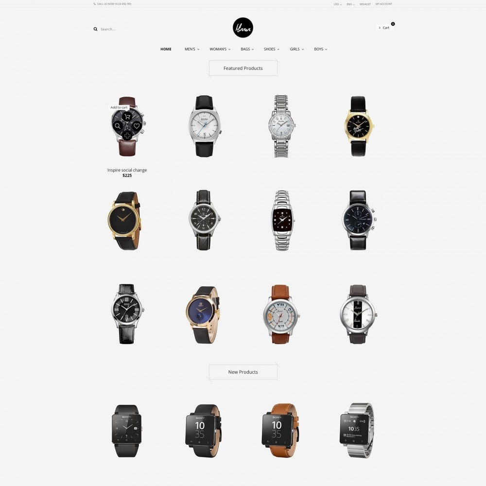 theme - Sieraden & Accessoires - Men Watches Minimal Responsive PrestaShop Theme - 1