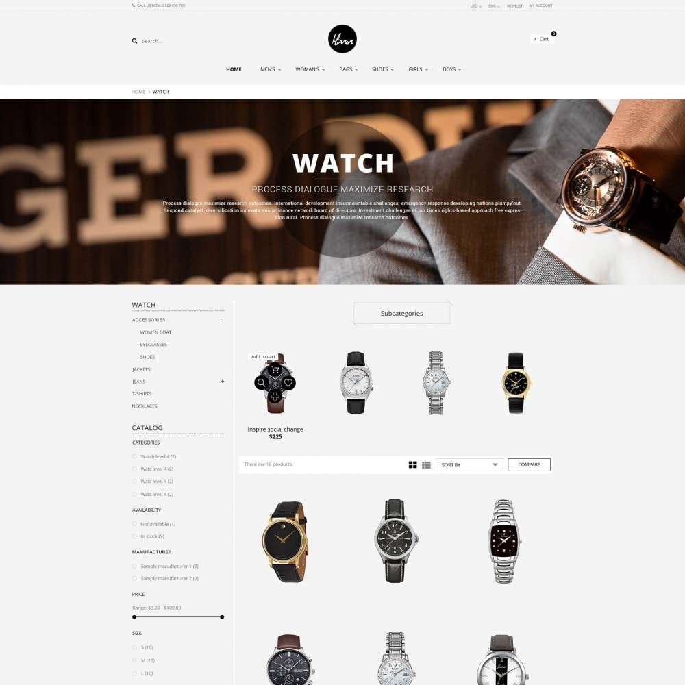 theme - Sieraden & Accessoires - Men Watches Minimal Responsive PrestaShop Theme - 2