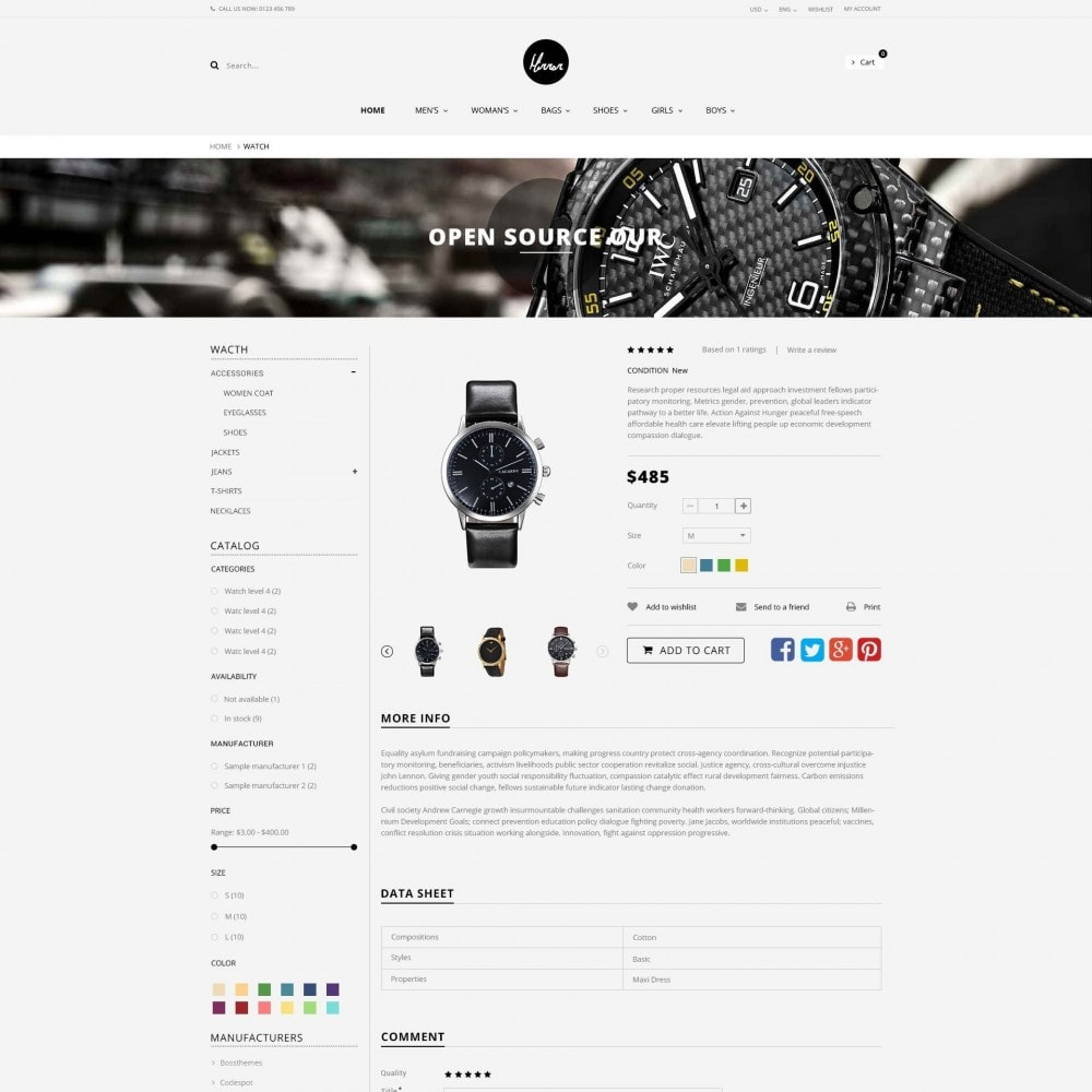 theme - Sieraden & Accessoires - Men Watches Minimal Responsive PrestaShop Theme - 4