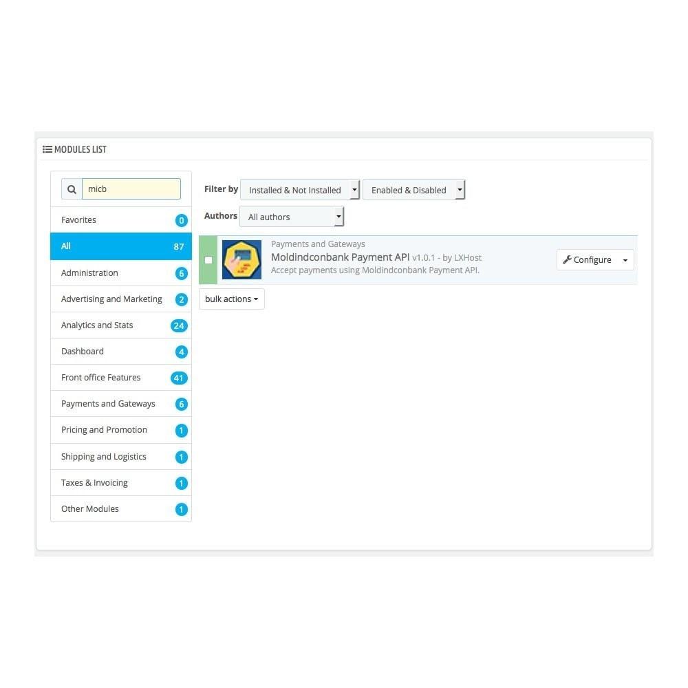 module - Zahlung per Kreditkarte oder Wallet - MoldIndConBank Payment Gateway / Credit Card Online - 1