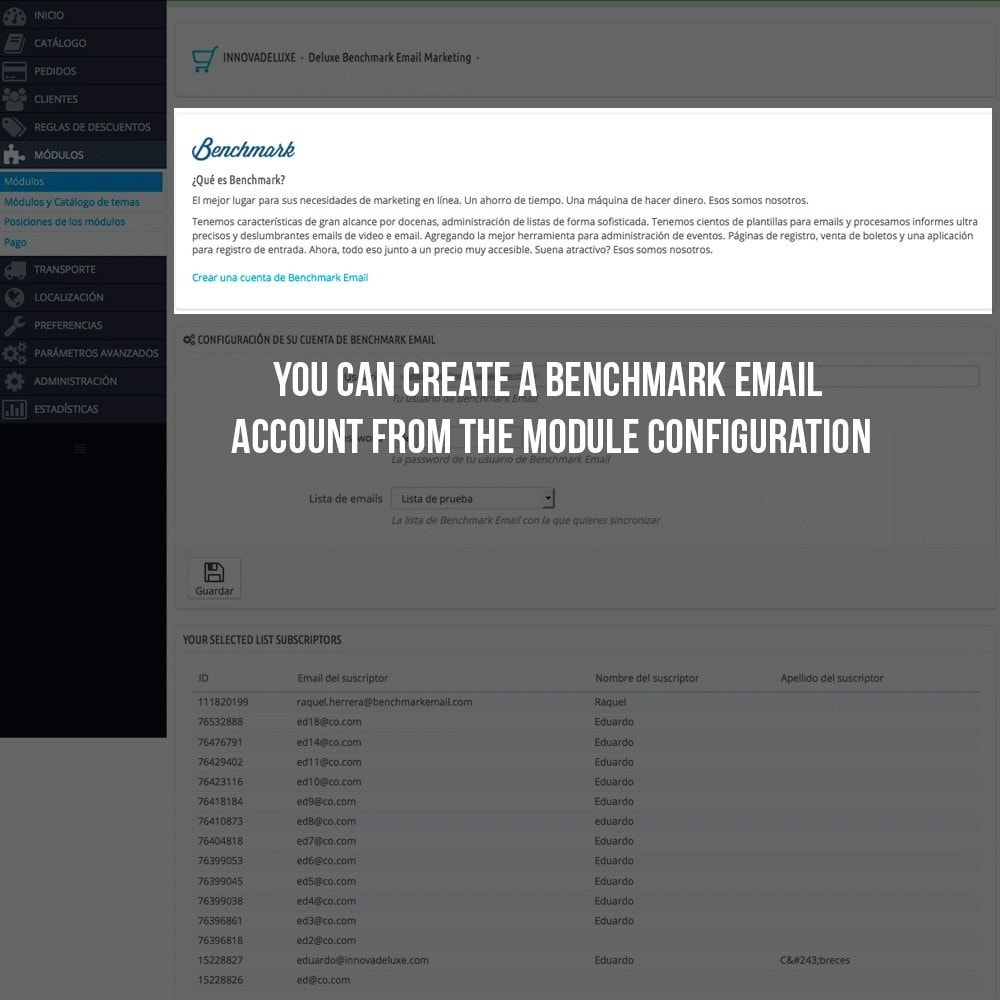 module - Notifications & Automatic Emails - Benchmark Email Marketing Integration - 3