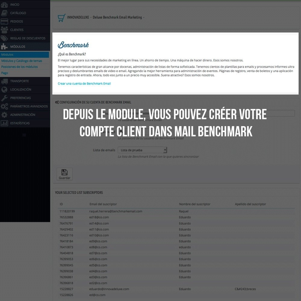 module - E-mails & Notifications - Intégration avec Benchmark Mail Marketing - 3