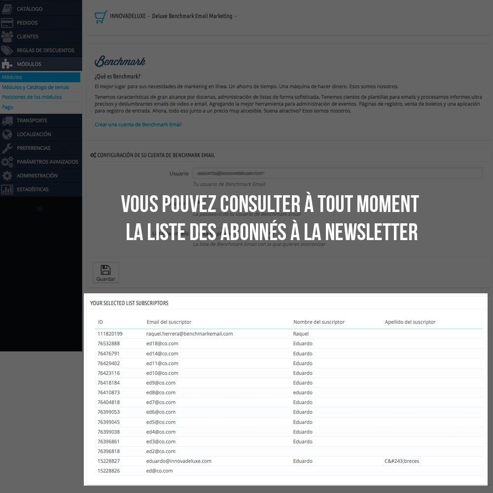 module - E-mails & Notifications - Intégration avec Benchmark Mail Marketing - 5