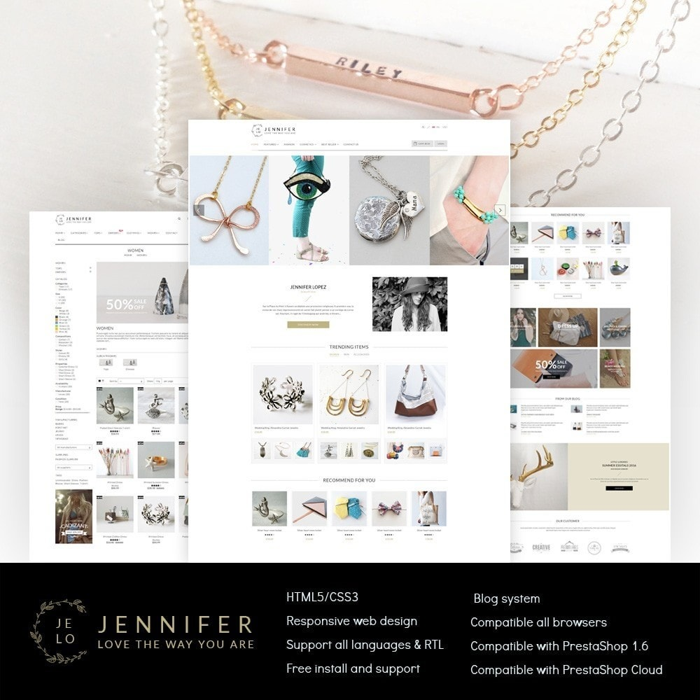theme - Biżuteria & Akcesoria - Jennifer - Beauty Store PrestaShop Theme - 1