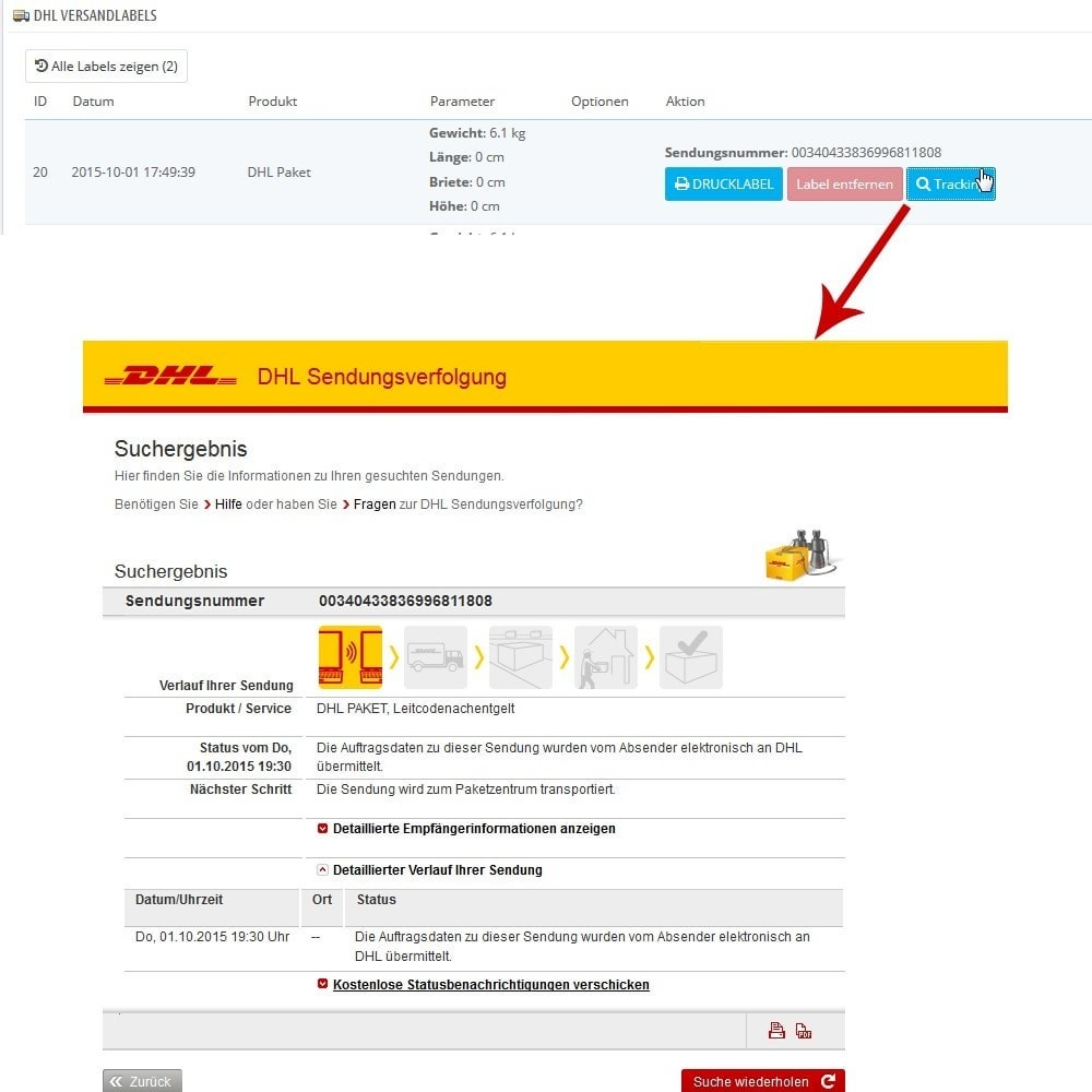 module - Transportadoras - DHL Business Portal Connector - 11