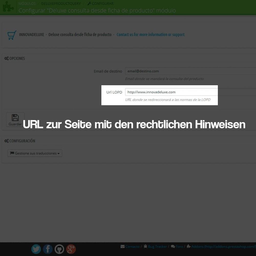 module - Rechtssicherheit - Anfragen ab der Produktseite (Datenschutzbestimmungen) - 3