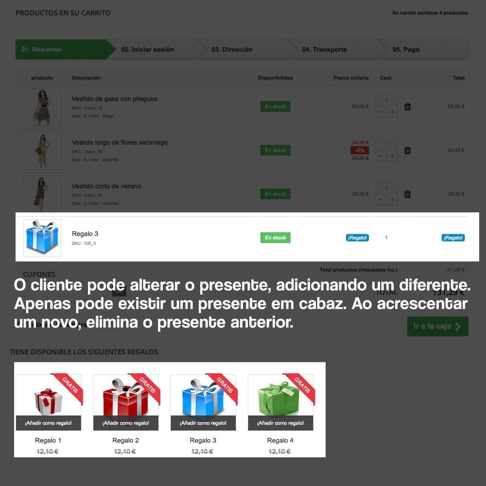 module - Promoções & Brindes - Gifts in shopping carts to increase order price - 13