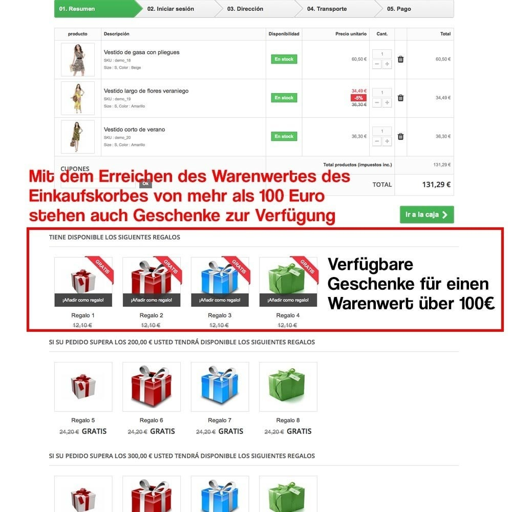 module - Promotion & Geschenke - Gifts in shopping carts to increase order price - 11