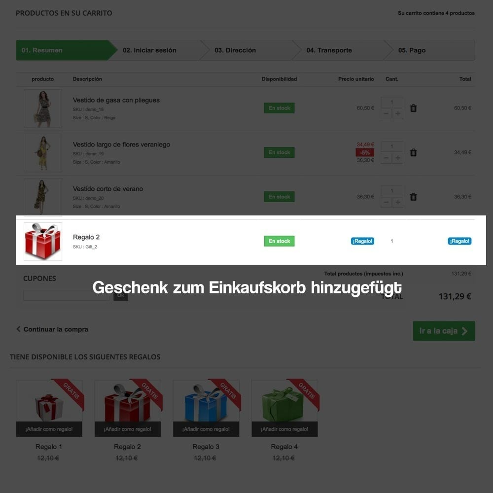 module - Promotion & Geschenke - Gifts in shopping carts to increase order price - 12