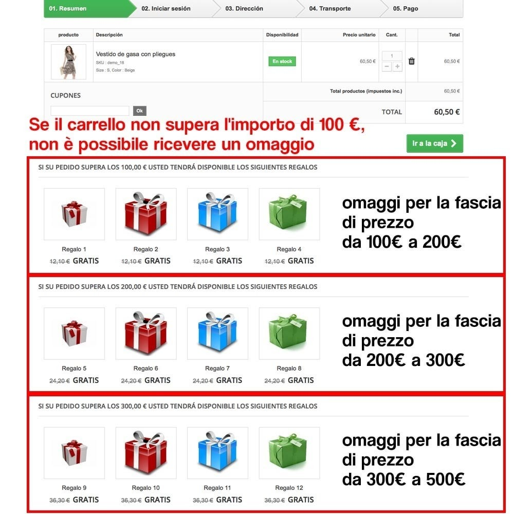 module - Promozioni & Regali - Gifts in shopping carts to increase order price - 10