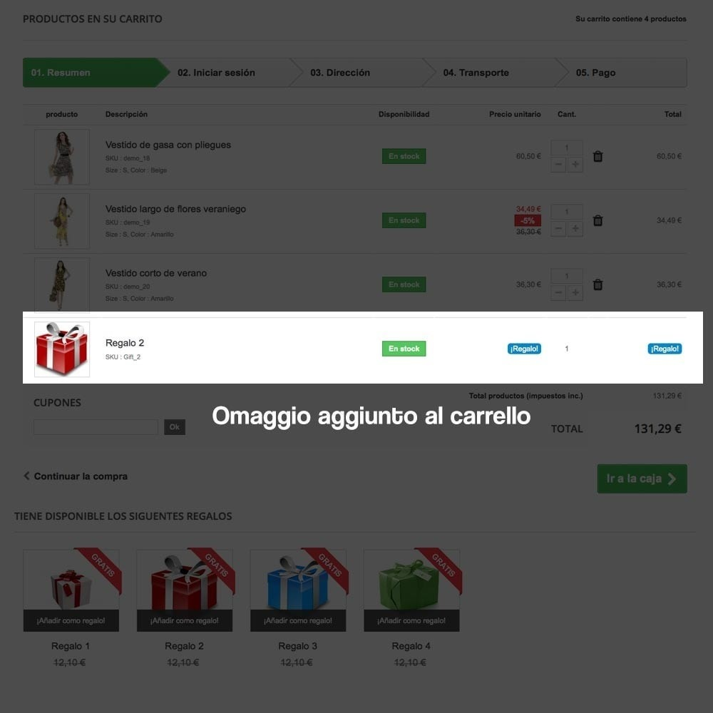 module - Promozioni & Regali - Gifts in shopping carts to increase order price - 12