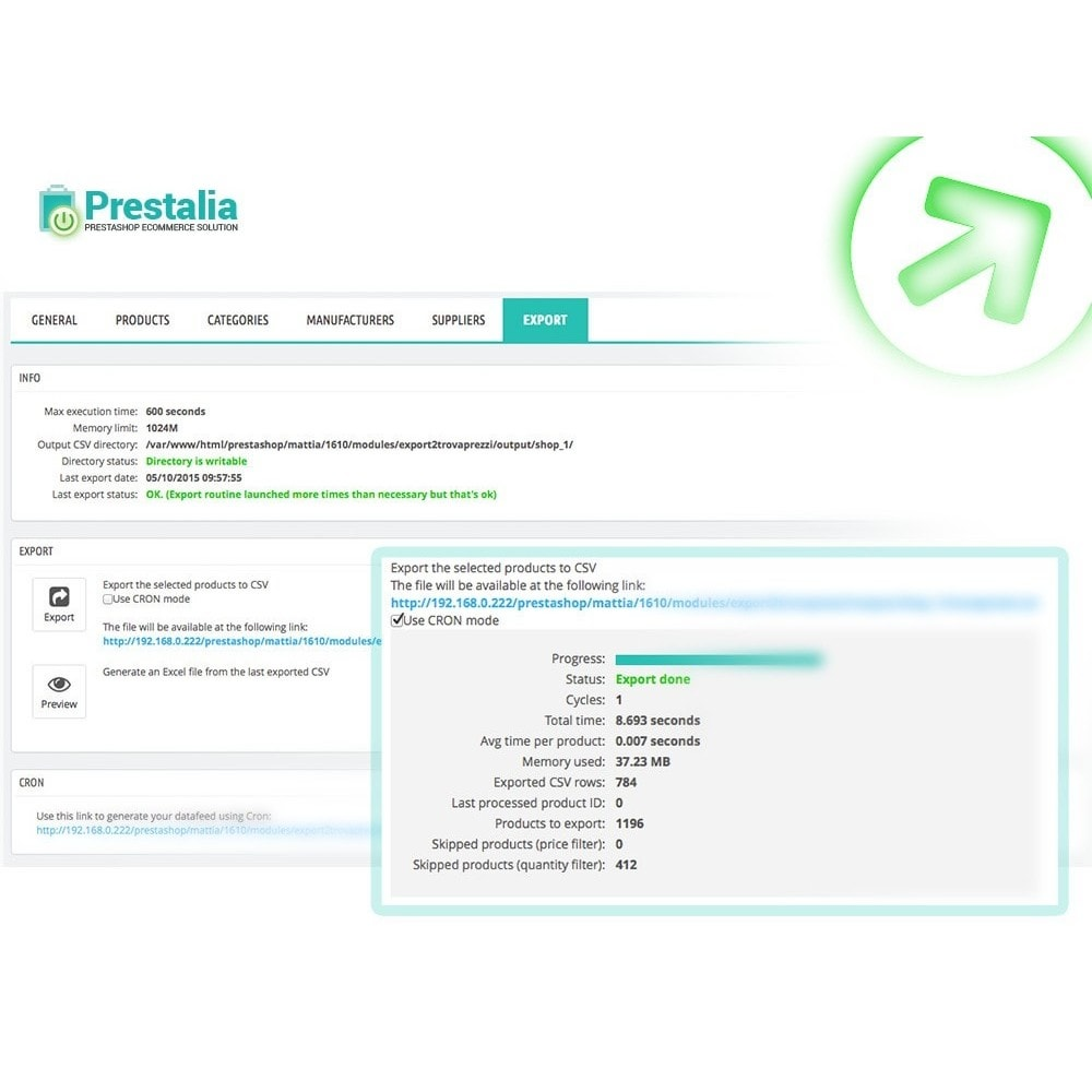 module - Importación y Exportación de datos - Exportación Trovaprezzi con filtros avanzados - 1
