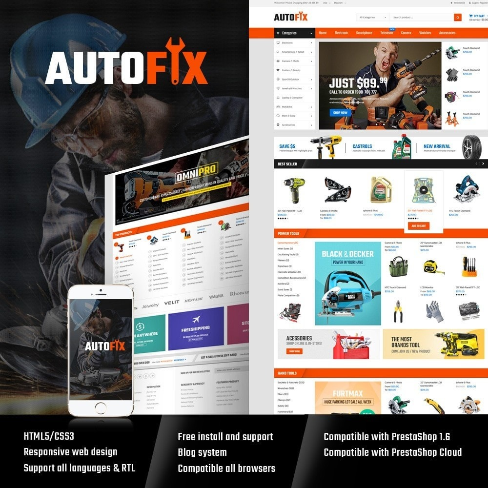 theme - Carros & Motos - Autofix - Tools Store - 1