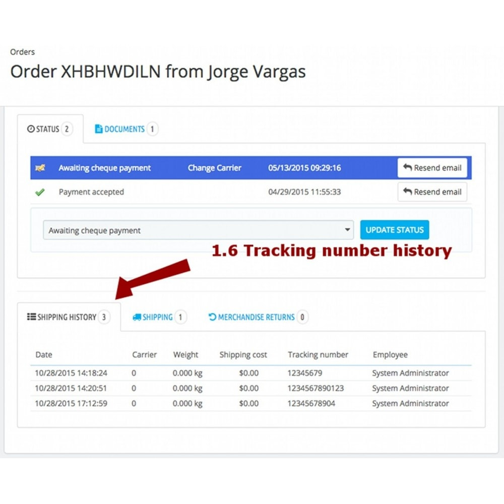 module - Перевозчики - Change carrier and tracking number history - 10