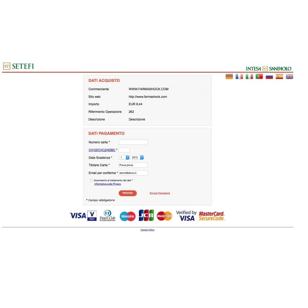 module - Payment by Card or Wallet - Intesa Sanpaolo Setefi Monetaweb Credit Cards - 1