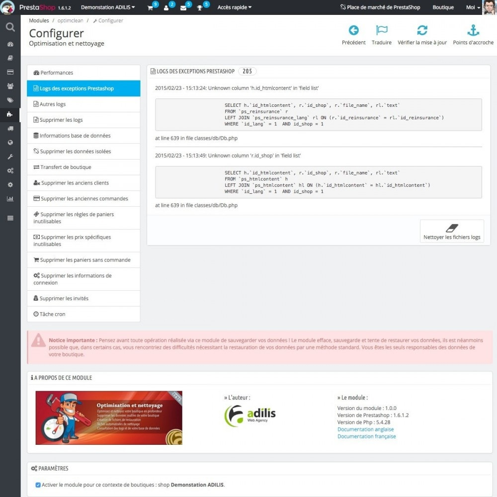 module - Performance du Site - Optimisation et nettoyage - 7
