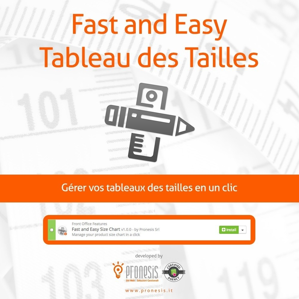 module - Tailles & Dimensions - Fast and Easy Tableau des Tailles - 1
