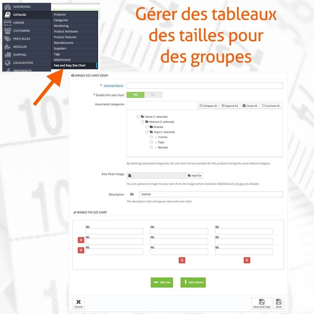 module - Tailles & Dimensions - Fast and Easy Tableau des Tailles - 2